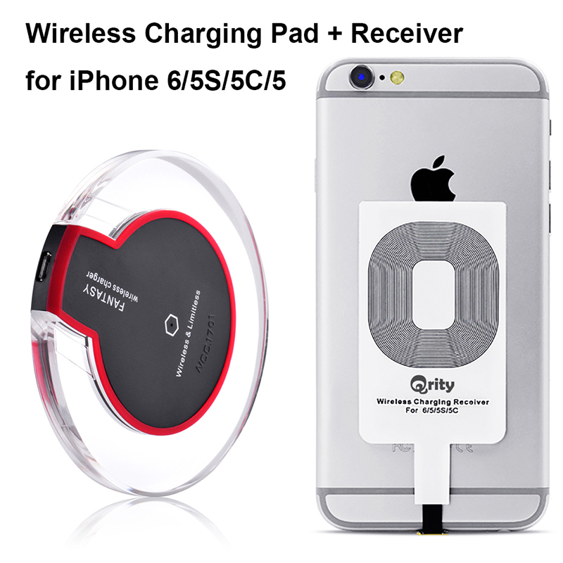 low priced 1da46 38ad1 Qrity Wireless Charger (Black), Qi Wireless Charging Pad + iPhone Receiver  for iPhone 7/7 Plus 6s /6s Plus/6/5 /5s /5c, Galaxy S7 S6 edge, Nexus 4/5/6  ...