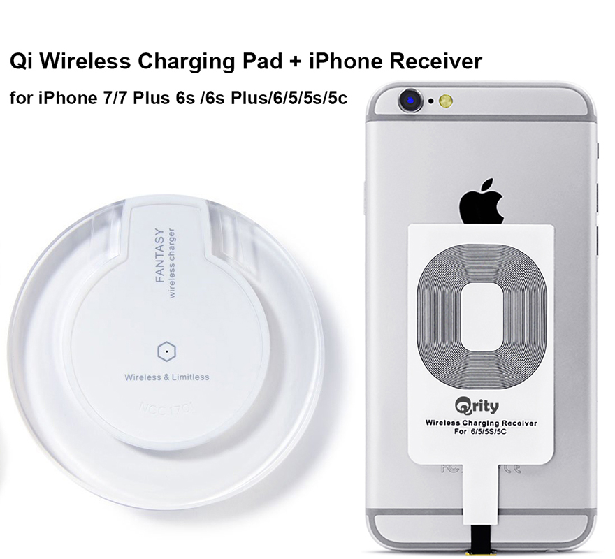 factory authentic daba9 301e2 Qrity Wireless Charger (White), Qi Wireless Charging Pad + iPhone Receiver  for iPhone 7/7 Plus 6s /6s Plus/6/5 /5s /5c, Galaxy S7 S6 edge, Nexus 4/5/6  ...